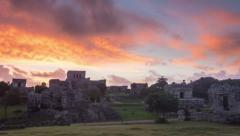 Timelapse of tulum mayan ruins zoom out Stock Footage
