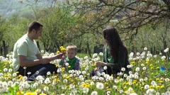 Father and son offering flowers to  mother, beautiful family portrait in nature Stock Footage