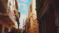 Walking Through the Oldtwon of Rethymno Stock Footage