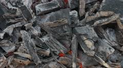UHD of smoldering wood Stock Footage