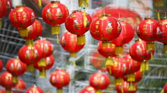 Stock Video Footage of Chinese new year lanterns with blessing text mean happy ,healthy and wealth.