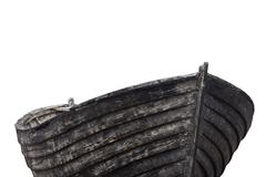 Side view of an old fishing wood boat Stock Photos
