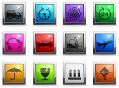 Cargo shipping icons set Stock Illustration