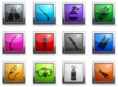 Diving icon set - stock illustration