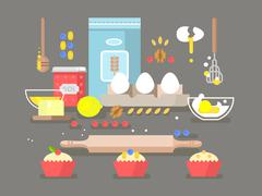 Preparation of baking ingredients - stock illustration