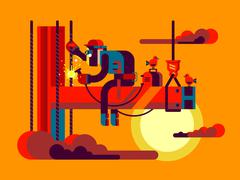 Welder climber character - stock illustration