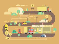 Roadside cafe design flat Stock Illustration