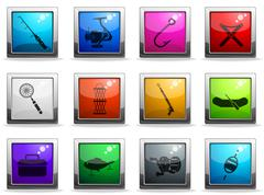 Fishing icon set Stock Illustration