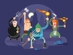 People with torches and pitchforks - stock illustration