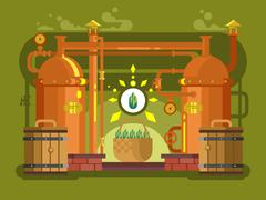 Brewery beer design flat Stock Illustration