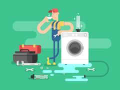 Repair of washing machines - stock illustration