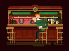 Shop pub beer - stock illustration