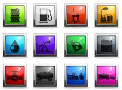 Oil and petrol industry objects icons - stock illustration