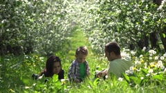 Smiling family blowing bubbles, sweet child and young parents, perfect sunny day Stock Footage