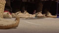 Peasants traditional footwear Stock Footage