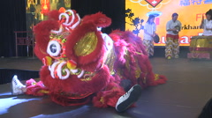 Lion dance at Chinese lunar new year festival in Markham Stock Footage