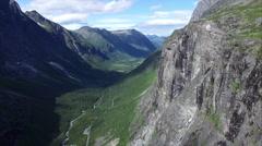 Mountain walls around Trollstigen pass in Norway Stock Footage