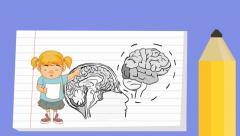 brain - Notebook  Cartoon - girl - stock footage