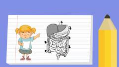 Digestion - Notebook  Cartoon - girl Stock Footage