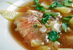 fish soup Aljotta - stock photo