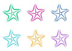 Colorful vector stylized starfish icons - stock illustration