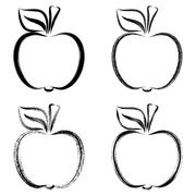 Black vector brush strokes apples Stock Illustration