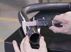 Measurement of metal parts measuring instrument - stock photo