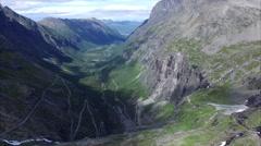 Stock Video Footage of Aerial view of Trollstigen pass in Norway