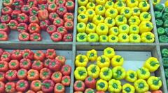 Pepper in supermarket Stock Footage