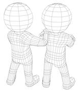 Puppet 3d men two friends Stock Illustration