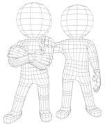 Puppet 3d men two friends - stock illustration
