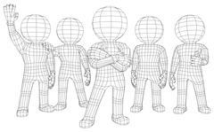 Puppet 3d men five friends - stock illustration