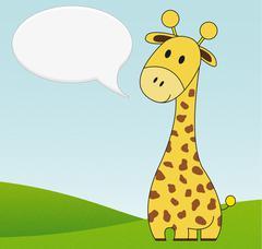 Illustration of cute giraffe with speech bubble Stock Illustration