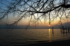 Sunset on the Lake Major, Italy - stock photo
