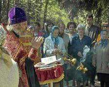 Church service in the open air - stock photo