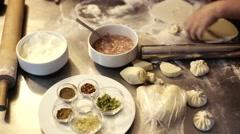 Workshop held in Georgia. Cooking dumpling. Stock Footage