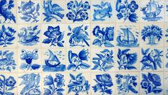 typical blue tiles in portugal - stock photo