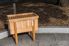 Wooden box in Japanese shrine Stock Photos
