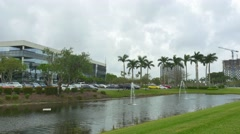 Downtown Doral fountains Stock Footage