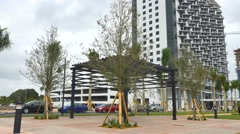 Downtown Doral highrise construction Stock Footage