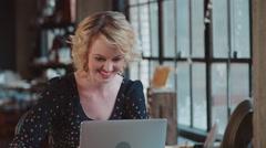 Female Fashion Designer Using Laptop In Studio Shot On R3D Stock Footage