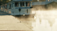 House Boat at the Dock on a Foggy Morning Stock Footage