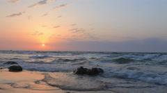 Sunset at Sea - Tel Avis shore Stock Footage
