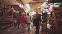 Crowded Market in Old Town of Heraklion - stock footage