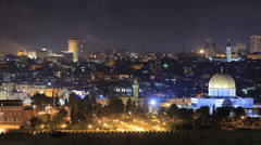 Time lapse of the walled old city of Jerusalem, Israel - stock footage