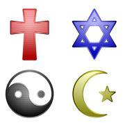 Four religious icons - stock illustration