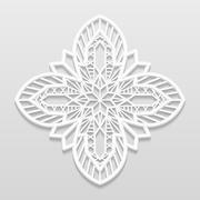 Lacy paper doily, decorative flower, decorative snowflake, mandala - stock illustration