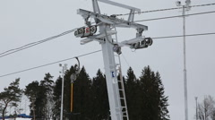 Mechanism of the ski lift Stock Footage