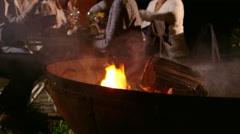 Mature Friends Enjoying Outdoor Evening Meal Shot On R3D Stock Footage