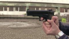 Closeup - Beretta 92FS 9mm Gun shooting Stock Footage